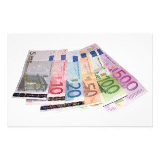 Euro bank notes stationery