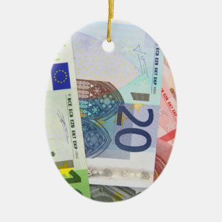 Euro Bills Background Double-Sided Oval Ceramic Christmas Ornament