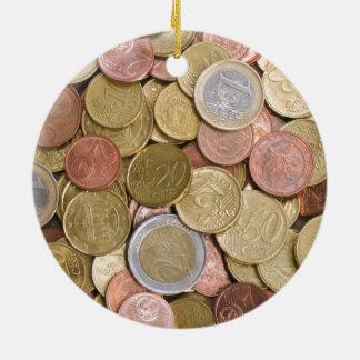 Euro Cents Ceramic Ornament