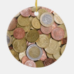 Euro Cents Double-Sided Ceramic Round Christmas Ornament