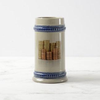 euro coins beer stein