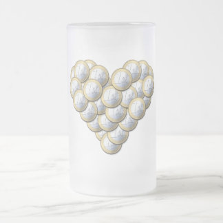 Euro Coins - heart pattern - mug, choose style Frosted Glass Beer Mug