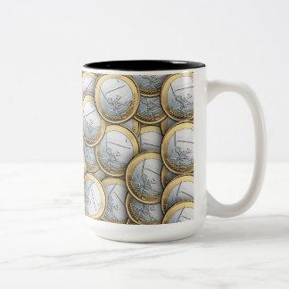 Euro Coins Two-Tone Coffee Mug