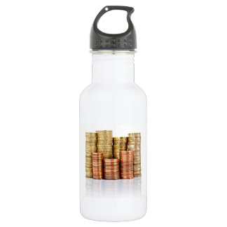 euro coins water bottle