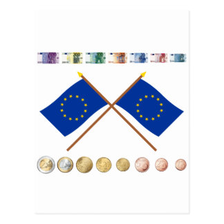 Euro Currency and Coins since 2007, with EU Flags Postcard