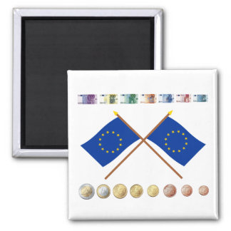 Euro Currency and Coins through 2006, with EU Flag Magnet