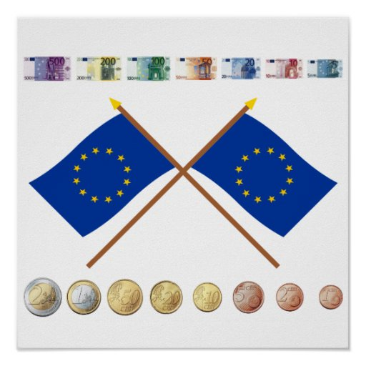 Euro Currency and Coins through 2006, with EU Flag Posters