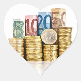 euro currency heart sticker