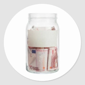 Euro currency in a jar classic round sticker
