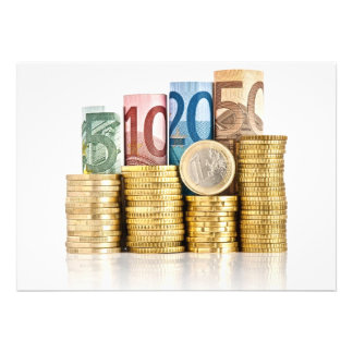 euro currency invitations