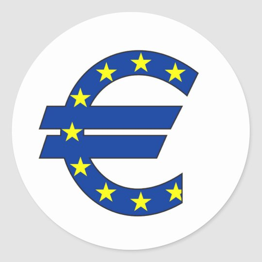 Euro Currency Symbol Money Sign Clic Round Sticker