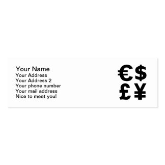 Euro Dollar Pound Yen Double-Sided Mini Business Cards (Pack Of 20)
