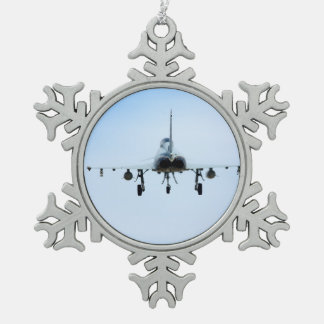 Euro Fighter heat Snowflake Pewter Christmas Ornament