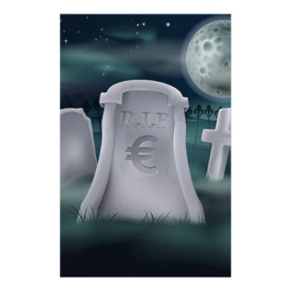 Euro grave concept stationery paper