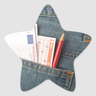 Euro money and lottery bet slip in pocket star sticker