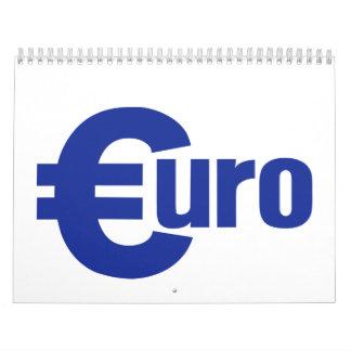 Euro money calendar