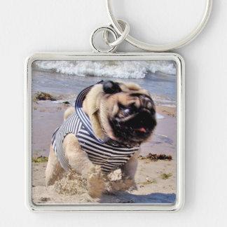 Euro Pug Running Sailor Premium Square Keychain