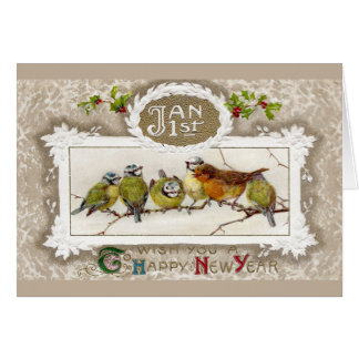 Euro Robin and Blue Tits Vintage New Year Card