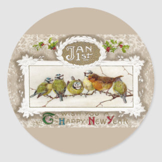 Euro Robin and Blue Tits Vintage New Year Classic Round Sticker