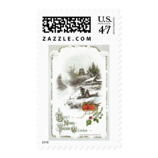 Euro Robins and Snowy Hamlet Vintage New Year Postage