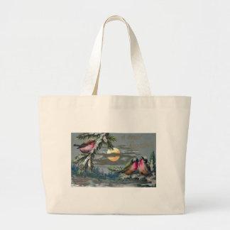 Euro Robins on Moonlit Night Vintage Christmas Large Tote Bag