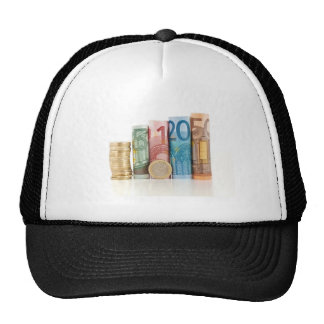 euro rolled bills and coin trucker hats