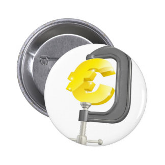 Euro sign in clamp concept pinback button