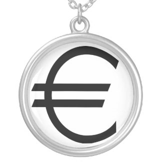 Euro Sign Silver Plated Necklace