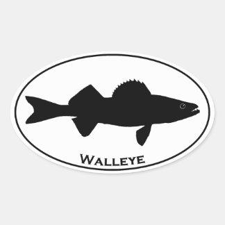 Euro Style Oval Walleye Logo Oval Sticker