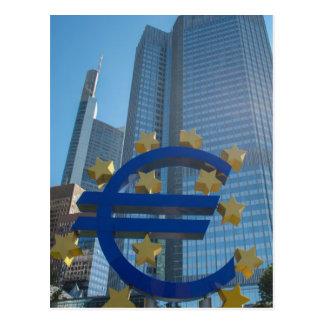 Euro symbol at European Central Bank in Frankfurt Postcard