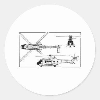 Eurocopter-Super-Puma-SA-33 Classic Round Sticker