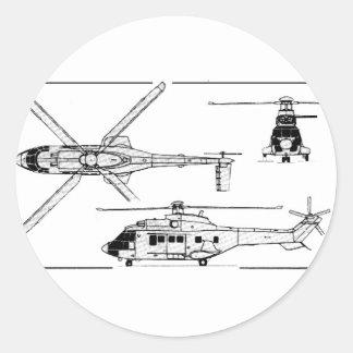 Eurocopter-Super-Puma-SA-33 Pegatina Redonda