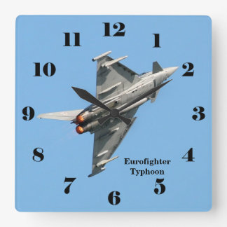 Eurofighter Typhoon blue sky all numbers Square Wall Clock