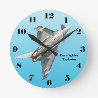 Eurofighter Typhoon on blue all numbers Round Clock