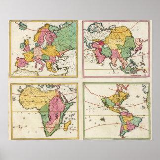 Europa, Asia, África, América Impresiones