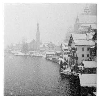 Europa, Austria, Hallstat. Opinión de la ciudad en Azulejo Cuadrado Grande