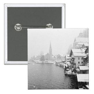 Europa, Austria, Hallstat. Opinión de la ciudad en Pin Cuadrada 5 Cm