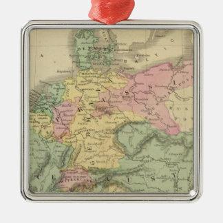 Europa continental adorno navideño cuadrado de metal