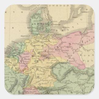 Europa continental pegatina cuadrada