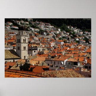 Europa, Croacia. Ciudad emparedada medieval de Póster