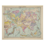 Europa de Asien u - mapa del atlas de Asia y de Eu Poster
