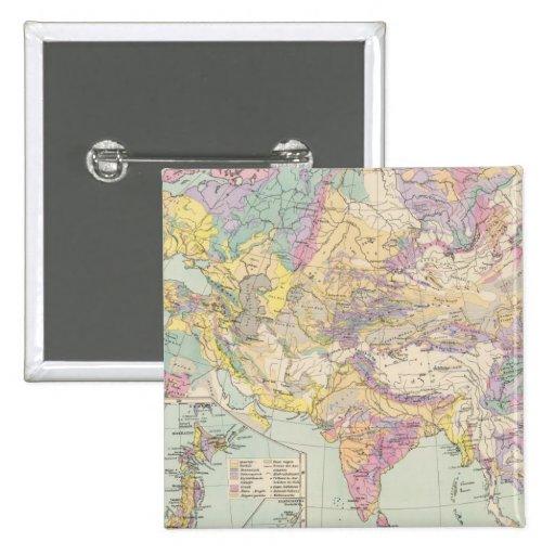Europa de Asien u - mapa del atlas de Asia y de Eu Pin Cuadrada 5 Cm