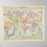 Europa de Asien u - mapa del atlas de Asia y de Eu Póster