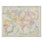 Europa de Asien u - mapa del atlas de Asia y de Impresión En Madera