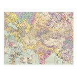 Europa de Asien u - mapa del atlas de Asia y de Postal