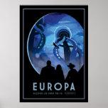 Europa de la visita - luna helada de Júpiter Póster