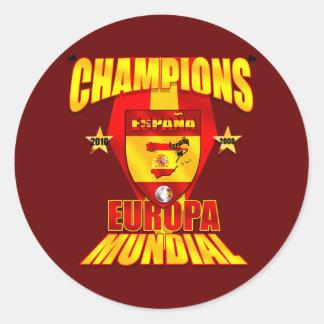 Europa de los campeones Mundial 2008 2010 Pegatina Redonda