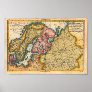 Europa del norte Bonne, reproducción 1760 del M. Poster