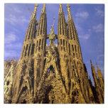 Europa, España, Barcelona, Sagrada Familia Azulejo Cuadrado Grande