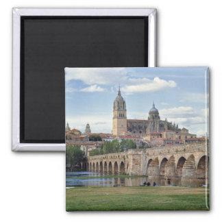 Europa, España, Salamanca. El puente romano encima Imán Cuadrado